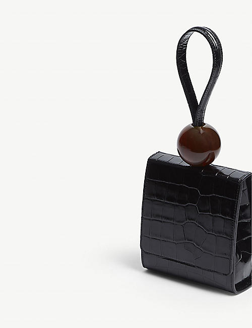 BY FAR Ball detail leather top handle bag