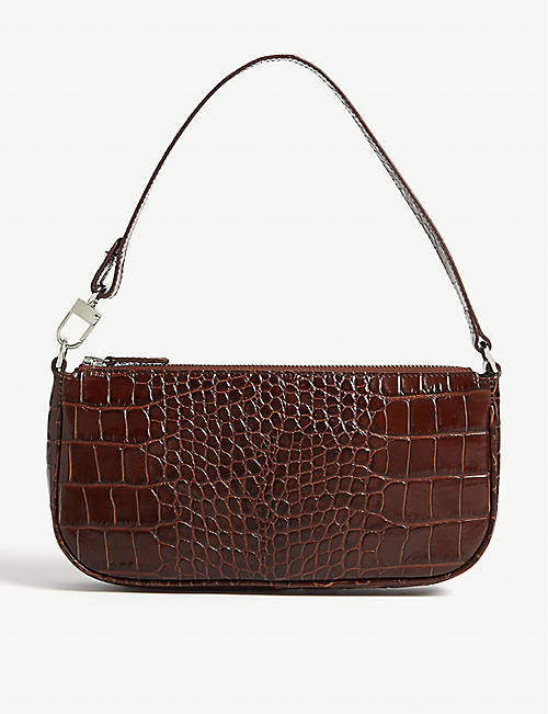 BY FAR: Rachel croc-embossed leather shoulder bag