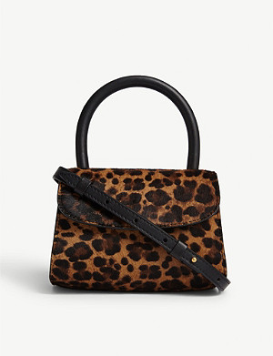 BY FAR Leopard print mini leather bag