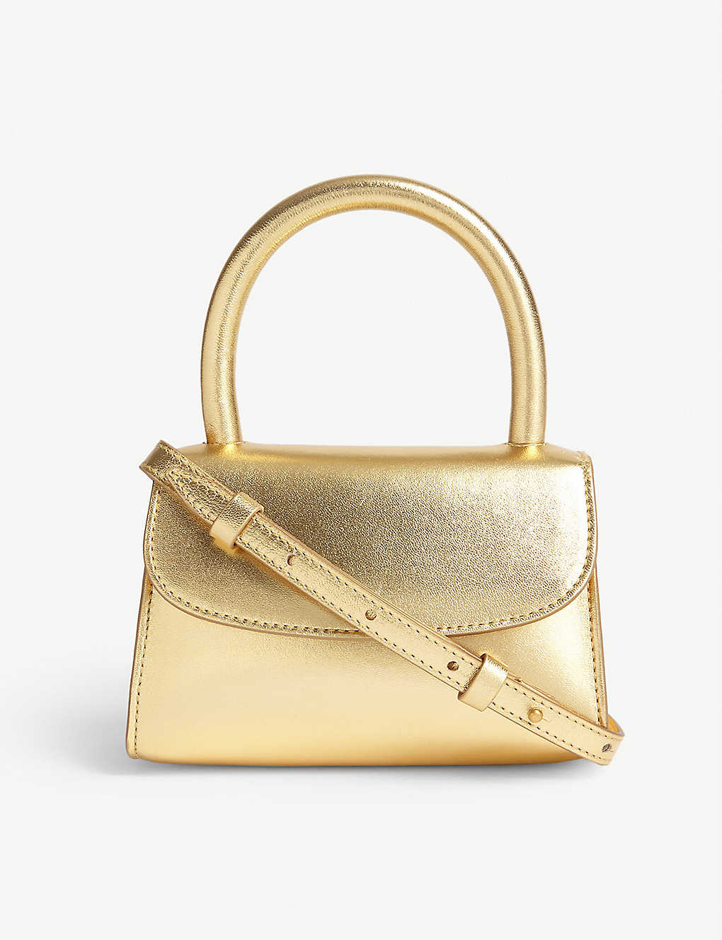 BY FAR: Metallic leather mini bag