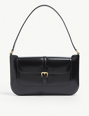 BY FAR Miranda mini semi-patent leather shoulder bag