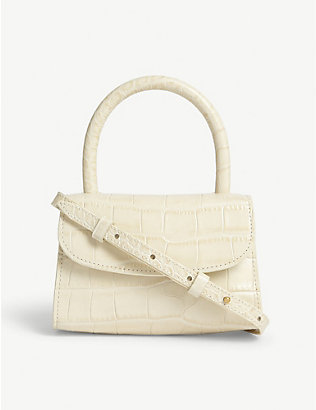 BY FAR: Croc-embossed leather mini tote