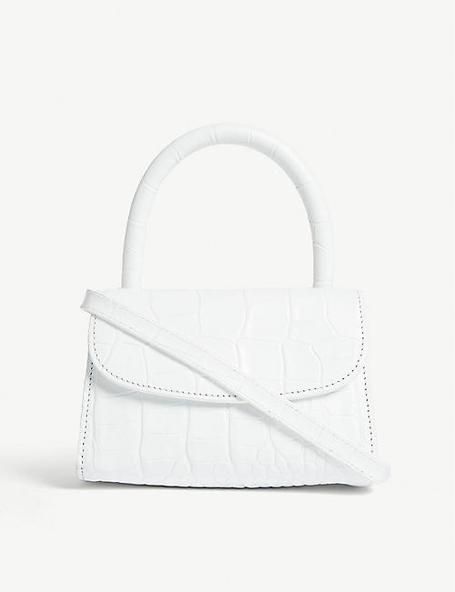 BY FAR Mini croc-embossed bag