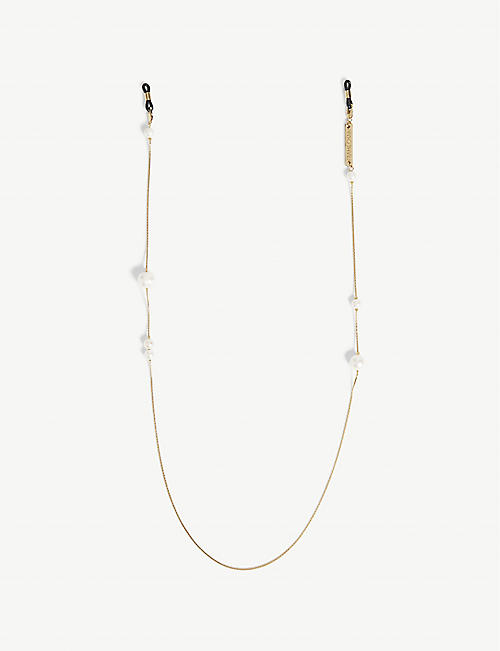 FRAME CHAIN: Pearl gold-plated glasses chain
