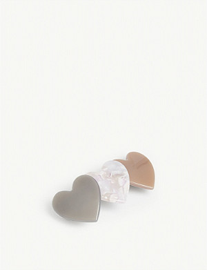 VALET Bianca resin heart barrette clip
