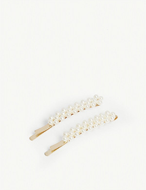 RELIQUIA Bree faux pearl hair clips set of two