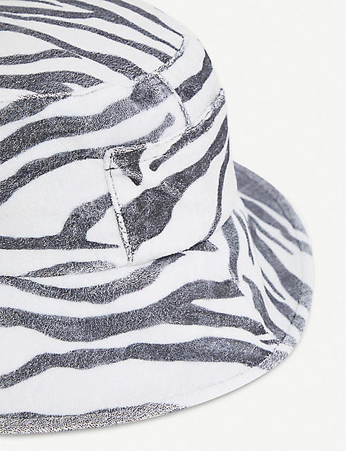 LACK OF COLOR Wave zebra-print cotton-canvas bucket hat