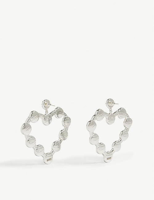 SORU Love Heart sterling silver and baroque pearl earrings