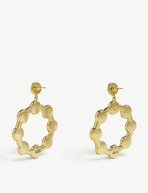 SORU Baroque 18ct yellow-gold, sterling silver and pearl hoop earrings