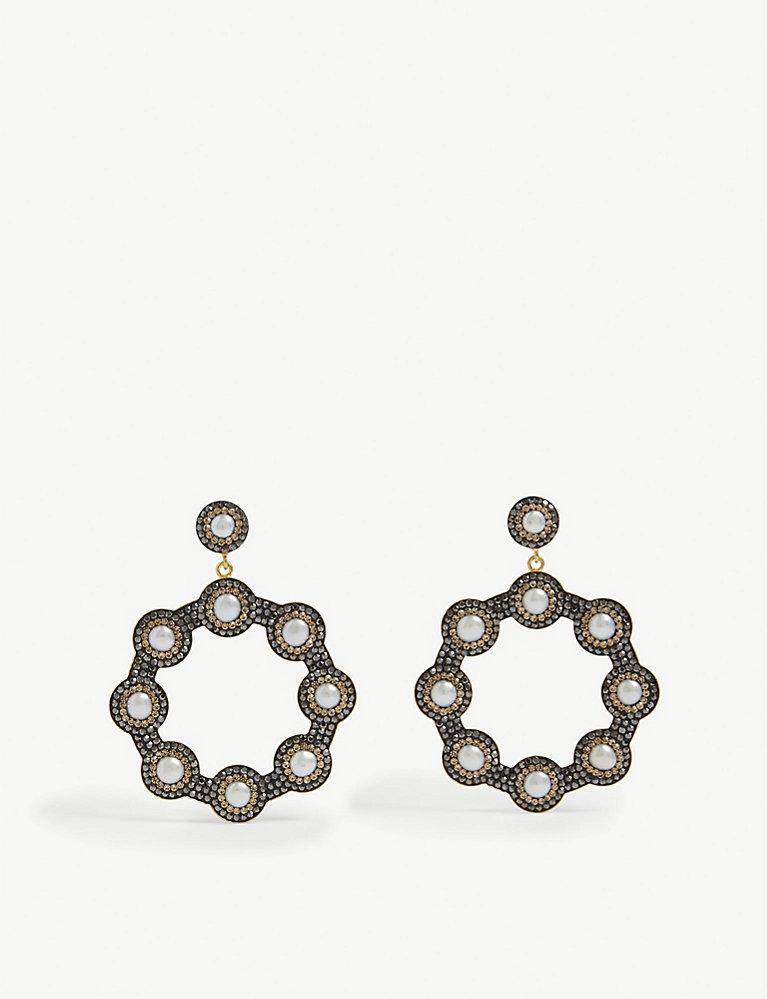 eaab0de17 Baroque 18ct yellow-gold, sterling silver and pearl hoop earrings - Pearl  ...