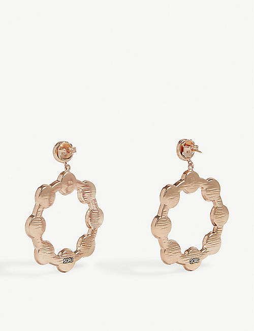 SORU Baroque 18ct yellow-gold, sterling silver and rose quartz hoop earrings