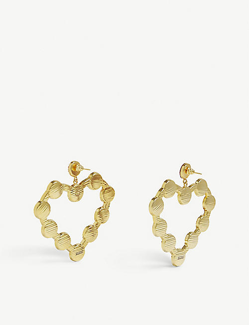 SORU Love Heart 18ct yellow-gold vermeil, sterling silver earrings