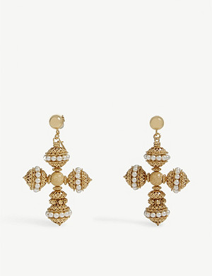 SORU Santina 24ct yellow-gold vermeil, sterling silver and Swarovski pearl earrings