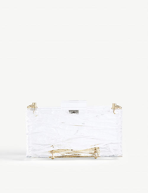 L'AFSHAR Classic Clear Crushed Ice clutch