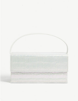 L'AFSHAR: Ida medium croc-embossed acrylic clutch bag