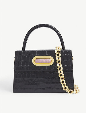 L'AFSHAR Diba croc-embossed leather shoulder bag