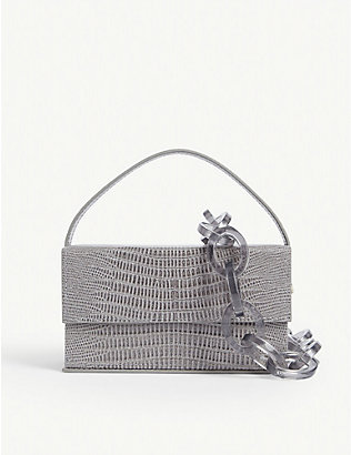L'AFSHAR: Ida croc-embossed leather bag