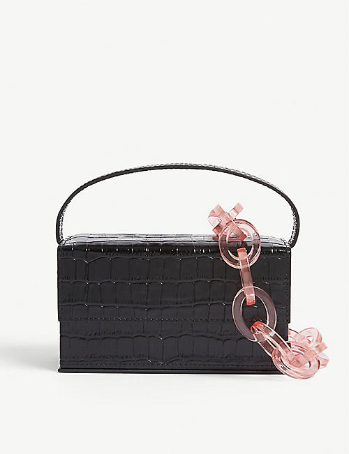 L'AFSHAR Ida croc-embossed small leather top handle bag