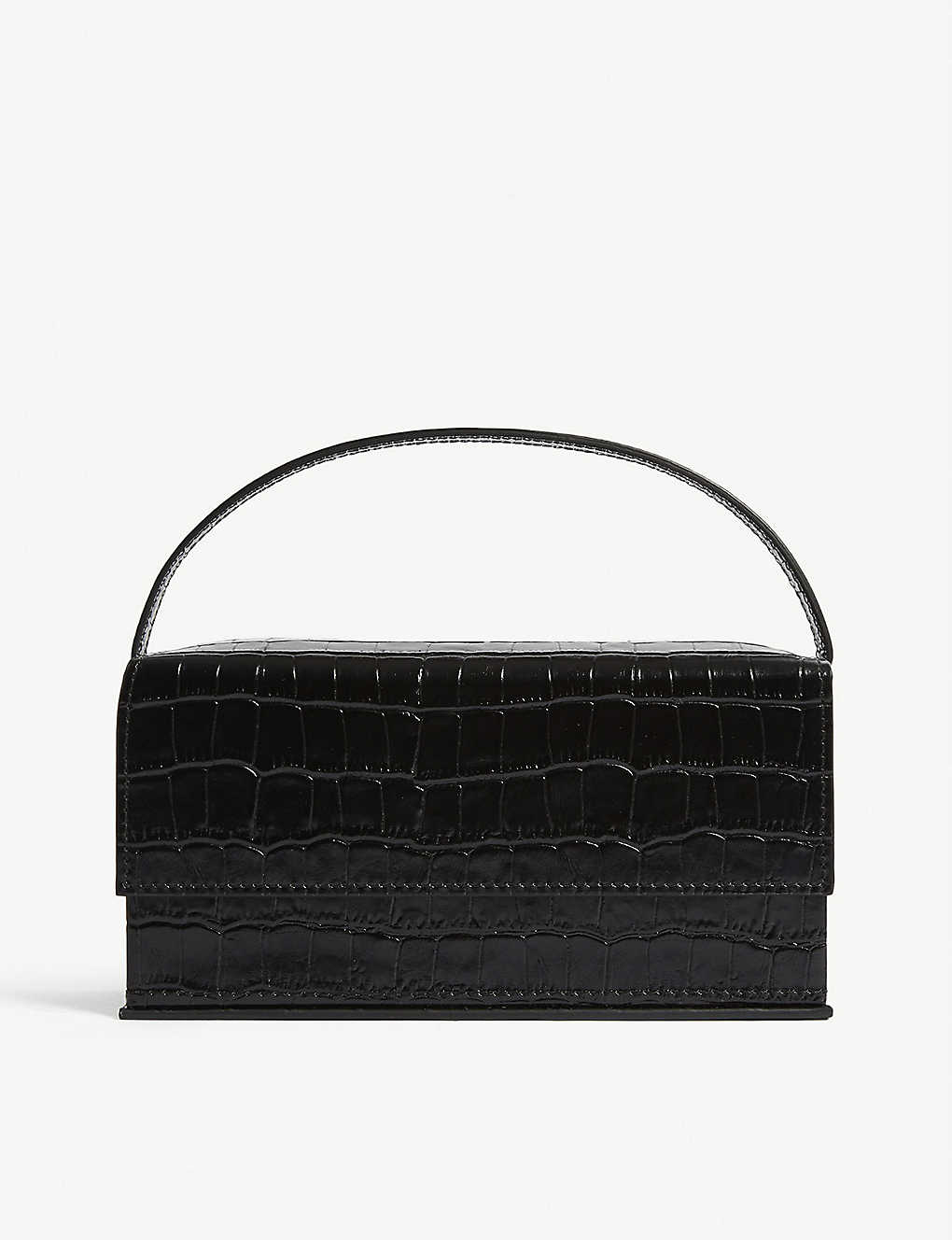 L'AFSHAR: Ida croc-embossed medium leather top handle bag