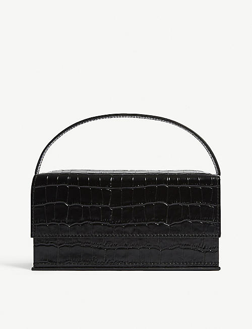 L'AFSHAR Ida croc-embossed medium leather top handle bag