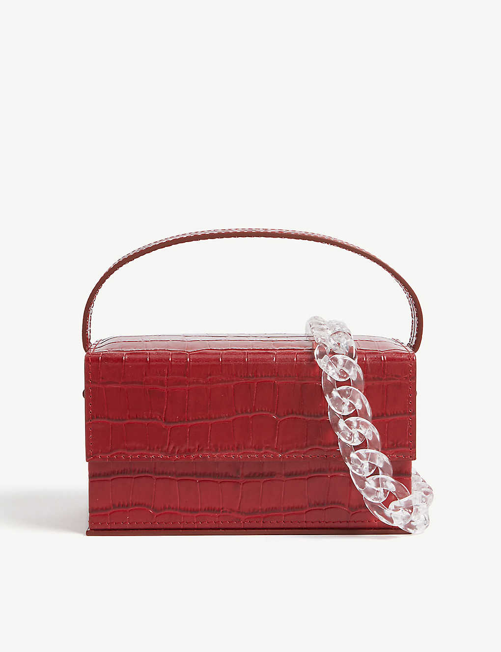 L'AFSHAR: Ida croc-embossed small leather top handle bag