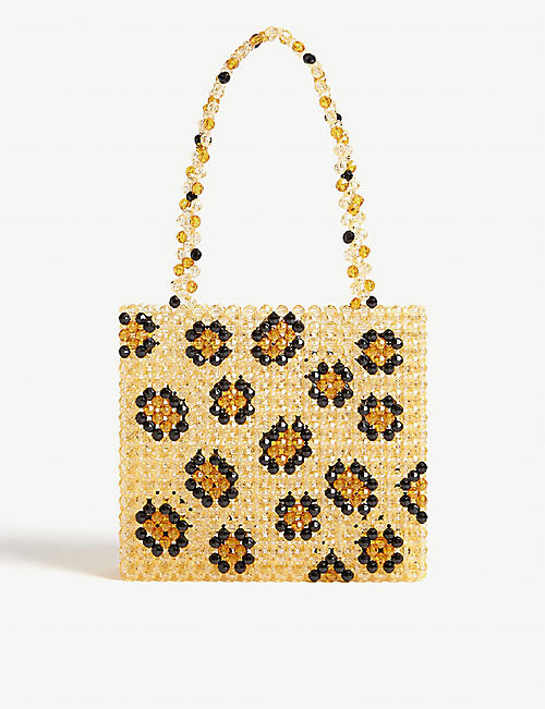 SUSAN ALEXANDRA Leopard beaded tote bag