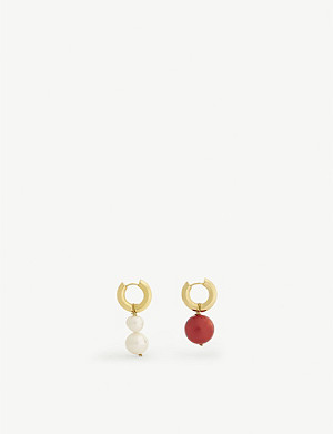 TIMELESS PEARLY Asymmetric gold-toned and pearl earrings
