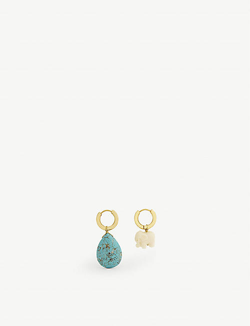 TIMELESS PEARLY Asymmetric gold vermeil, turquoise and pearl earrings