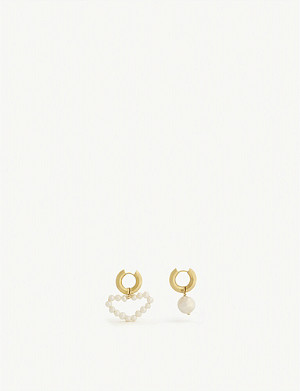 TIMELESS PEARLY Asymmetric gold vermeil and pearl earrings