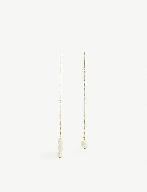 TIMELESS PEARLY Mismatched pearl drop earrings