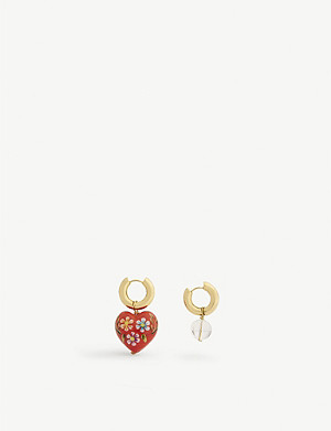 TIMELESS PEARLY Mismatched heart and stone earrings