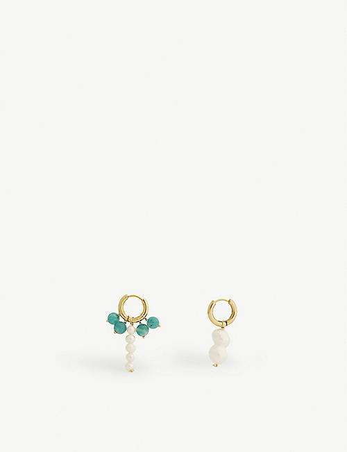 TIMELESS PEARLY Asymmetric gold vermeil, pearl and amazonite earrings