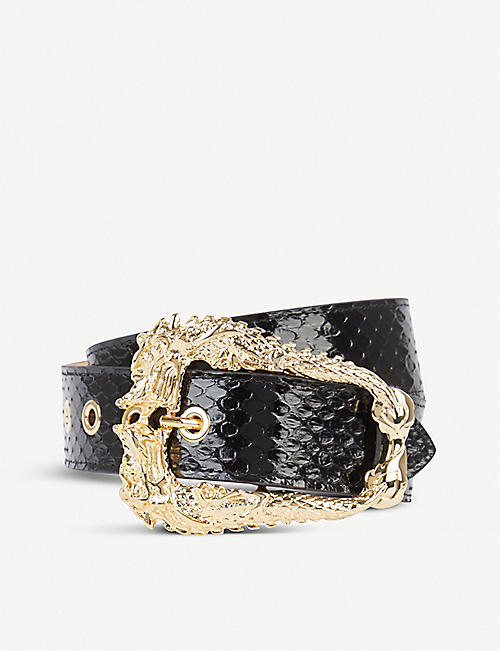 BLACK AND BROWN Dragon snakeskin and leather belt