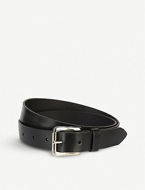 BLACK AND BROWN Laura leather and brass belt