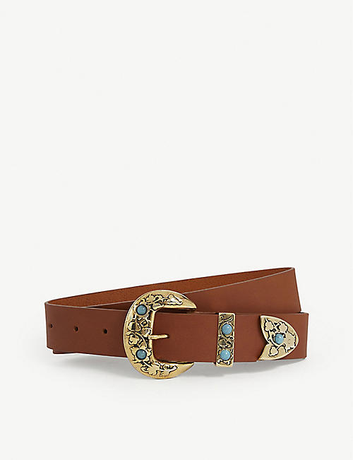 BLACK AND BROWN Sara leather belt