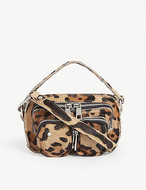 NUNOO Helena leopard print leather mini shoulder bag