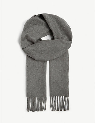 JOHNSTONS: Fringe-trim personalised cashmere scarf
