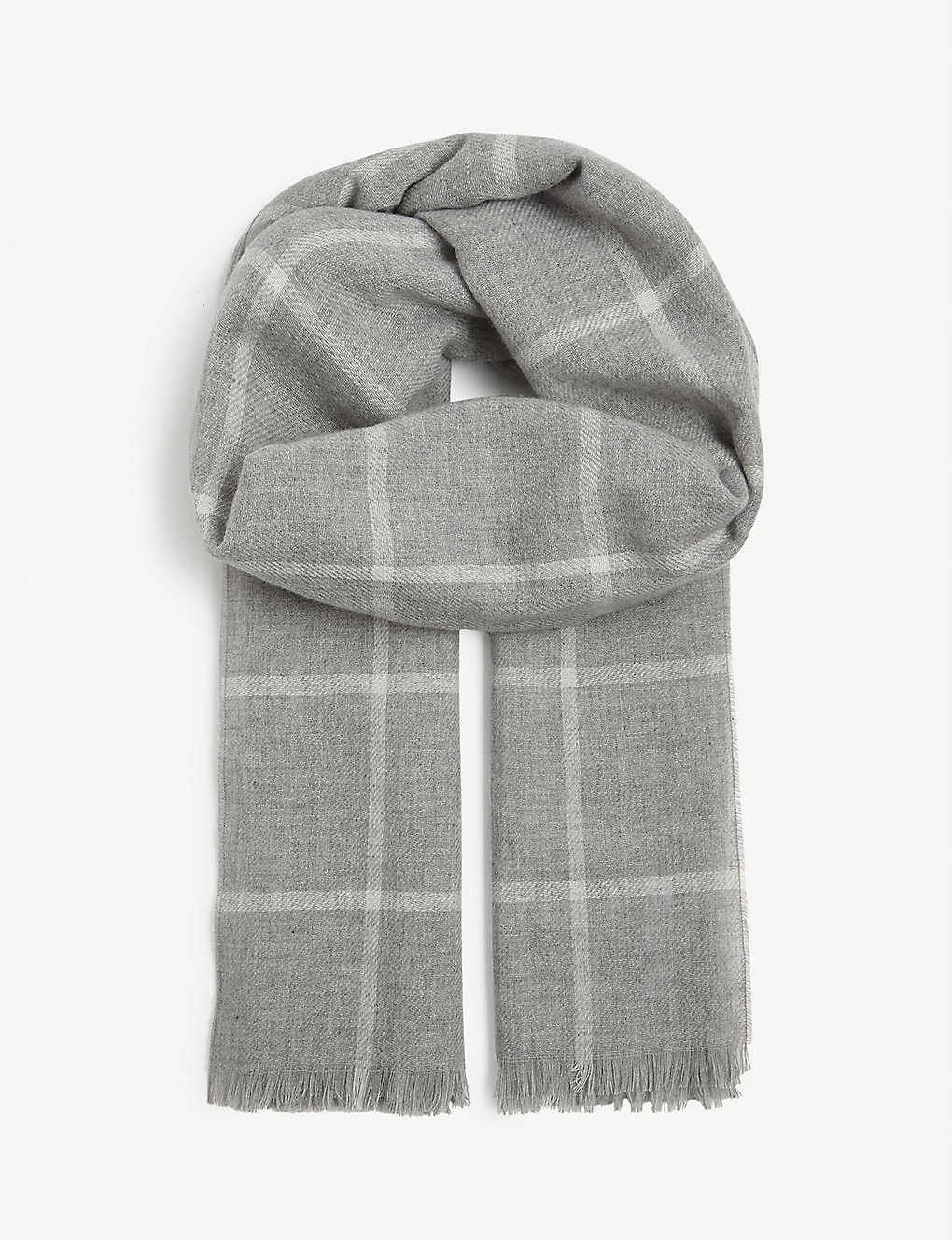 JOHNSTONS: Windowpane pattern cashmere scarf