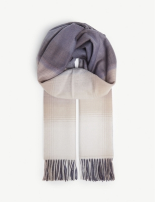 JOHNSTONS Check cashmere scarf