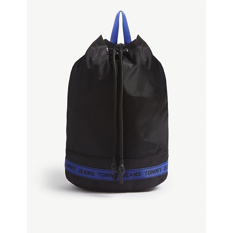 Logo Tape Bucket Backpack, Black