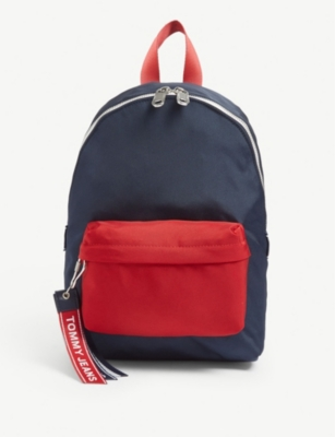 TOMMY JEANS TJ small logo tape denim backpack