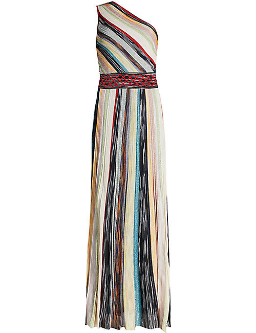 MISSONI One shoulder striped woven maxi dress