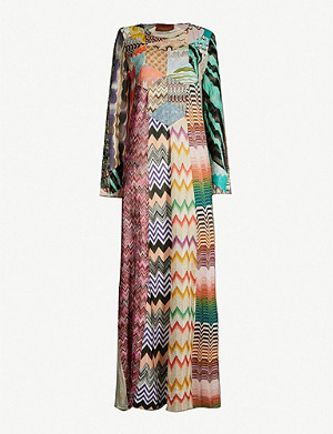 MISSONI Patchwork-panel stretch-silk maxi kaftan dress