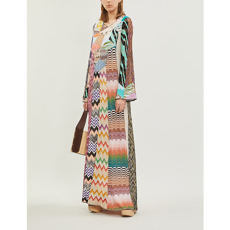 Missoni Dresses PATCHWORK-PANEL STRETCH-SILK MAXI KAFTAN DRESS
