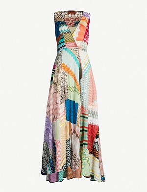 MISSONI Patchwork-panel stretch-silk maxi dress