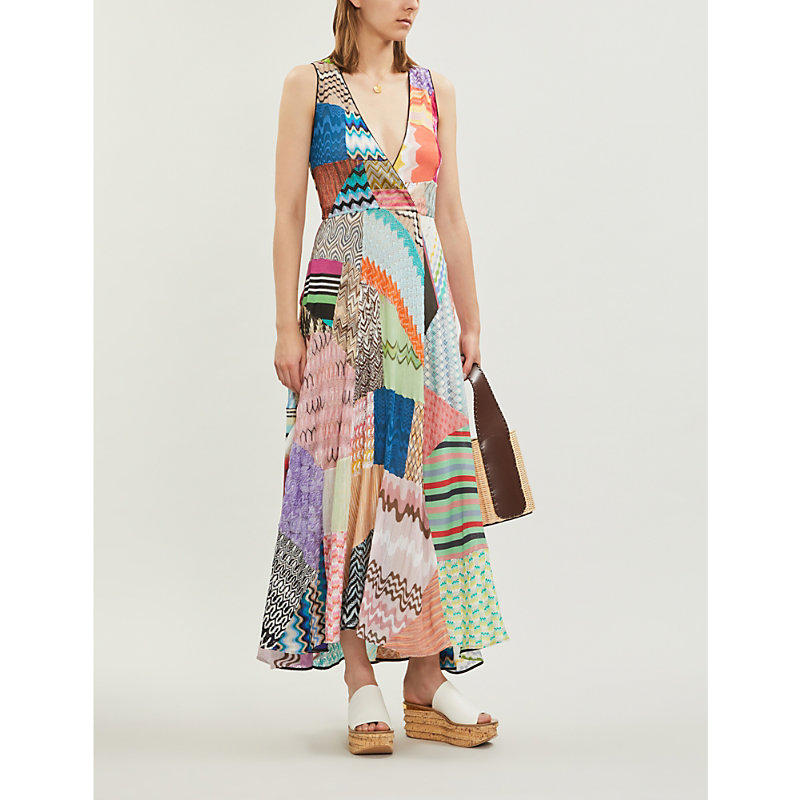 Missoni Dresses PATCHWORK-PANEL STRETCH-SILK MAXI DRESS
