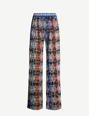 MISSONI Geometric-print high-rise woven trousers