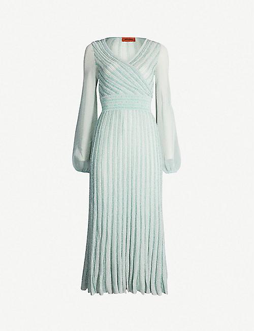 59afe978ca8 MISSONI - Striped metallic-knit wrap dress