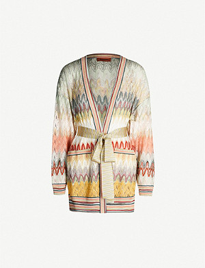 MISSONI Zigzag pattern knitted wrap cardigan