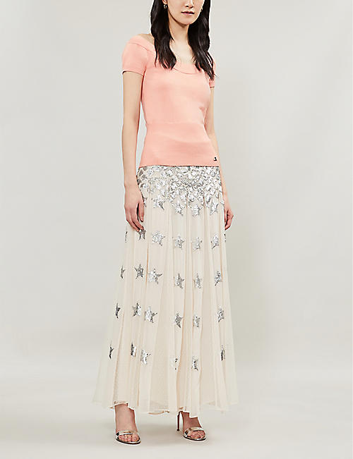 TEMPERLEY LONDON Melody scoop-neck knitted cap sleeved top